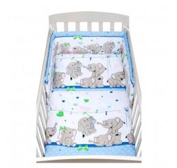 Trojdielne Obliečky do postieľky modré so slonmi Bavlna 100x135, 40x60 cm