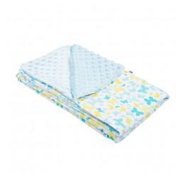 Detská deka modrý motýľ do kočíka Bavlna-Polyester, 80x102 cm
