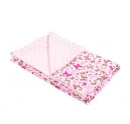 Detská deka ružová motýľ do kočíka Bavlna-Polyester, 80x102 cm