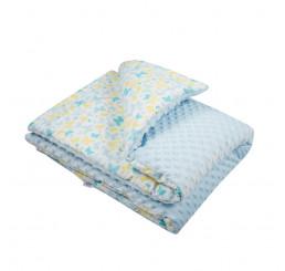 Detská deka s výplňou modrá Bavlna-Polyester, 80x102 cm
