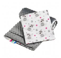Obojstranný set do kočíku Teddy šedý Bavlna-Polyester, 75x100, 30x35 cm