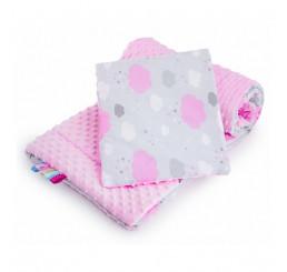 Obojstranný set z do kočíku obláčik ružový Bavlna-Polyester, 75x100, 30x35 cm