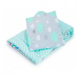 Obojstranný set z do kočíku obláčik mätový Bavlna-Polyester, 75x100, 30x35 cm