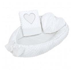 Luxusné hniezdočko s vankúšom a perinkou srdiečko biele Bavlna-Polyester, 55x75 cm