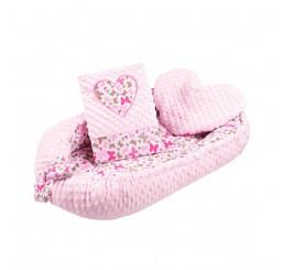 Luxusné hniezdočko s vankúšom a perinkou srdiečko ružové Bavlna-Polyester, 55x75 cm