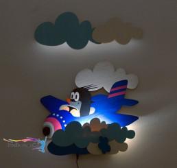 LED Lampička Krtko v lietadle s diaľkovým ovládaním