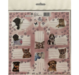 Samolepiace menovky Sweet Pets Mačiatka a Šteniatka papier, 20x20 cm
