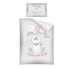 Obliečky do postieľky Psík ružový Bavlna, 100x135, 40x60 cm