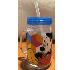 Plastový hrnček s viečkom a slamkou Mickey modrá 400 ml