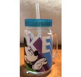 Plastový hrnček s viečkom a slamkou Mickey zelená 400 ml