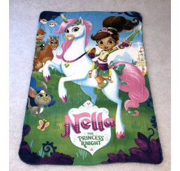 Fleece deka Princezná Nella a jednorožec Polyester, 100x150 cm