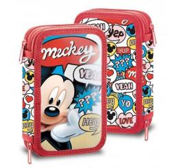 Dvojposchodový vybavený peračník Mickey Hey Polyester, 20x13x4 cm