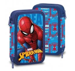 Dvojposchodový vybavený peračník Spiderman Polyester, 20x13x4 cm
