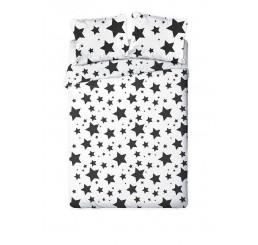 Francúzske obliečky Hviezdy čiernobiele Bavlna, 220x200, 2x70x80 cm