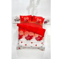Obliečky dvoj-lôžko bavlnený satén Srdiečka červené 220x200, 2x70x80