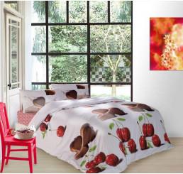 Obliečky dvoj-lôžko bavlnený satén Čokoládové srdiečka 220x200, 2x70x80