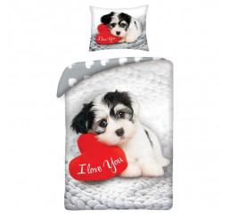 Obliečky Love šteňa Bavlna, 140x200, 70x90 cm