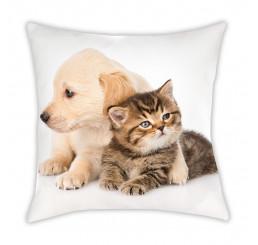 Vankúšik Mačiatko a šteniatko Polyester, 40x40 cm