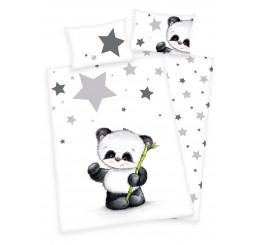 Obliečky do postieľky flanelové Panda 100x135, 40x60