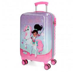 Cestovný kufor Princezná Nella a jednorožec lila ABS plast, 33l