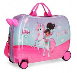 Detský kufrík Princezná Nella a jednorožec lila MAXI ABS plast, 50x38x20 cm, objem 34 l