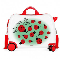 Detský kufrík na kolieskach Lienky MAXI ABS plast, 50x38x20 cm, objem 34 l