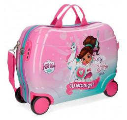 Detský kufrík Princezná Nella a jednorožec MAXI ABS plast, 50x39x20 cm, objem 34 l