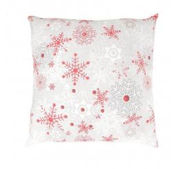 Vianočná obliečka na vankúšik Vločky červeno šedé 40x40 cm