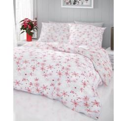 Vianočné obliečky Vločky červeno šedé 140x200, 70x90 cm
