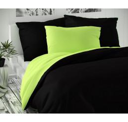 Saténové obliečky Luxury Coll čierne-svetlo zelené 140x220, 70x90