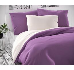 Saténové obliečky Luxury Coll biele fialovej 140x220, 70x90