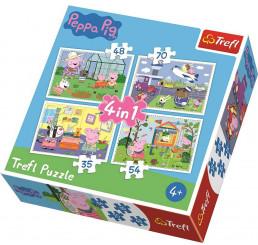 Puzzle Prasiatko Peppa papier, 4v1 35,48,54,70 dielikov