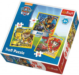 3v1 Puzzle Paw Patrol Chase Marshal Rubble papier