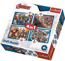 Puzzle Avengers: Sme tým papier, 4v1 (35,48,54,70 dielov) cm