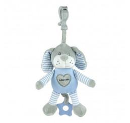 Edukačná hrajúca hračka s úchytom psík modrý Plyš, 25 cm