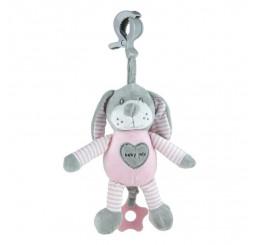 Edukačná hrajúca hračka s úchytom psík ružový Plyš, 25 cm