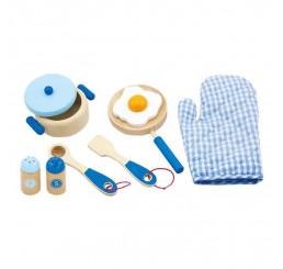 Detský drevený riad raňajky modré Drevo, 24x22x7 cm