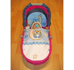 Perinky do kočíka pre bábiky Sova modrá