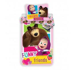 Obliečky Máša a Medveď Friends 140x200, 70x90