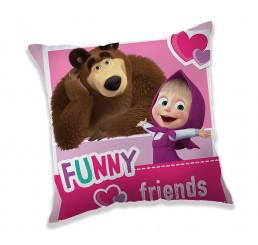 Vankúšik Máša a Medveď Friends Polyester, 40x40 cm