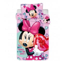 Obliečky do postieľky Minnie baby pink 100x135, 40x60