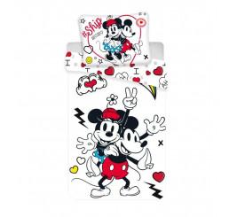 Obliečky Mickey a Minnie Retro Heart Polyester, 140x200, 70x90 cm