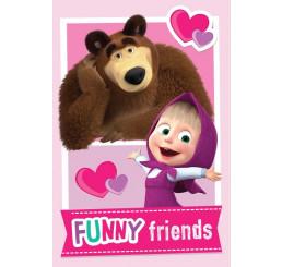 Fleece deka Máša a Medveď Friends 100x150