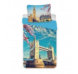Obliečky Londýn blue Bavlna, 140x200, 70x90 cm