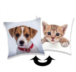 Meniaci vankúšk s flitrami Pes a Mačka 40x40