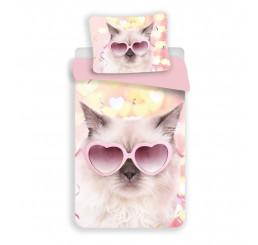 3D Obliečky Mačka srdiečka Polyester 140x200, 70x90 cm