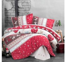 Flanel Vianočná obliečka na vankúš SANTA červené 40x40 cm