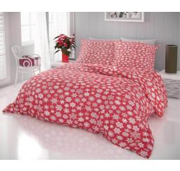 Bavlnené vianočné obliečky Vločky na červenom 140x200, 70x90 cm