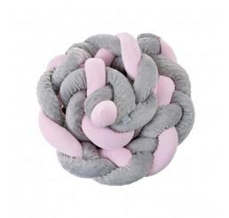 Mantinel do postieľky COP sivý a ružový Polyester, 250 cm