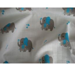 Látková plienka s potlačou Slon modrý Bavlna 70x70 cm